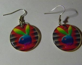 Dangle Rainbow Playboy Bunny Picture Earrings  #717