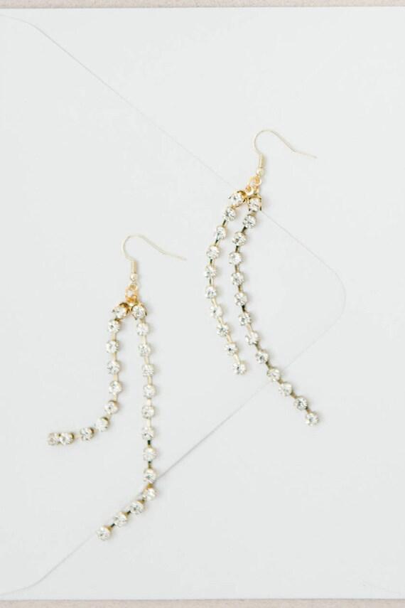 Dangle Drop Earrings, Gold Long Earrings, Gold Earrings, Rhinestone Earrings, Long Gold Earrings, Bridal Earrings, Long Rhinestone Earrings