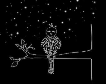 Night Bird Digital Painting Canvas Print