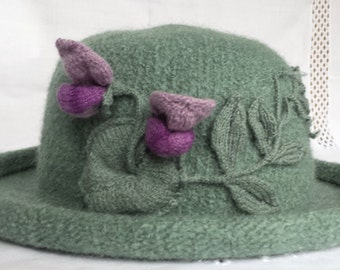 Hand Knit Wool and Mohair Felt Hat in Sage with Lavender Sweet Pea Vine CUSTOM ORDER ONLY