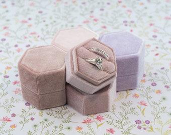 Velvet ring box - Hexagonal ring box - Wedding gift - Dusty Rose - Light Pink - Pale Dogwood - Lavender