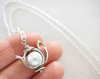 Miniature Teapot White Pearl Teapot Necklace Sterling Silver Chain Silver Teapot Pearl Necklace Tiny Teapot Charm Alice in Wonderland Teen