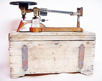 Vintage Newark Scale Works Triple Beam OHAUS GRAM SCALE with Wood Storage Box