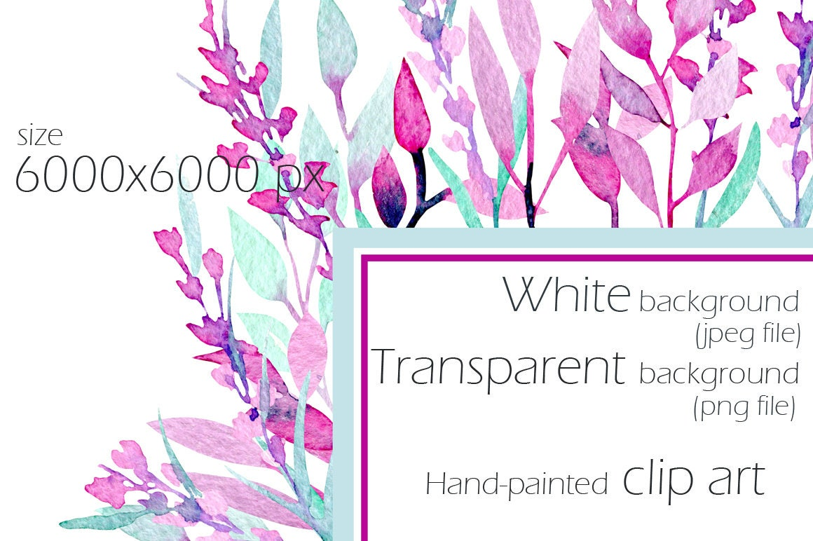 Watercolor Frame Border Purple Flower Lavender Wreath Digital Art ...