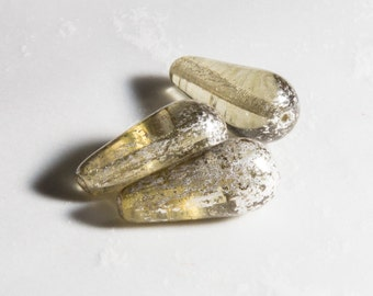 6 pcs -  20mm Czech Glass Teardrop Beads - Champagne Jonquil Yellow Mercury