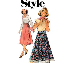 Style 2255 Womens Wrap Skirt 70s Vintage Sewing Pattern Waist 26 1/2 inches UNCUT Factory Folded