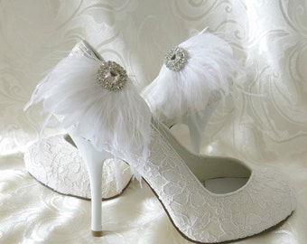 Feather Shoe Clips, Wedding Shoe Clips, Bridal Shoe Clips, Womens Shoe Clips, Rhinestone Shoe Clips, Clips Wedding Shoes, Bridal Shoes