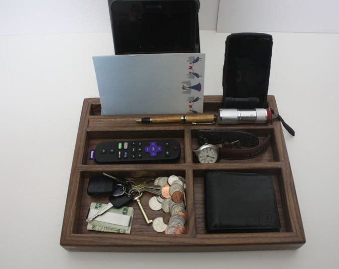 Black Walnut 'Grab and Go' Valet Tray, Box, Divided for Phone, Tablet, Remotes, Eye Glasses, Wallet, Watch, Keys, Coins, Knifes, Flashlight