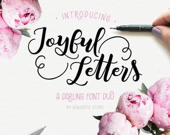 Font duo - Joyful Letters - Modern calligraphy font - Digital font - Bouncy font