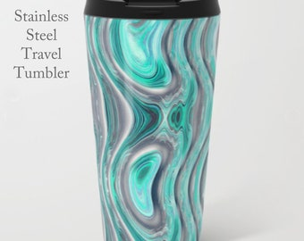 Teal Travel Tumbler-Stainless Steel Mug-Insulated Coffee Mug-Metal Mug-15 oz Mug-Funky Coffee Mug-Insulated Travel Mug-Teal Gray Coffee Mug