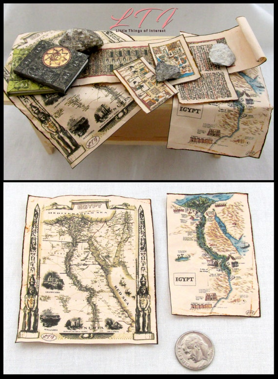 ANCIENT EGYPTIAN MAPS Miniature Dollhouse 1:12 Scale Papyrus Library School Ancient Geography Egypt Pyramid Pharos
