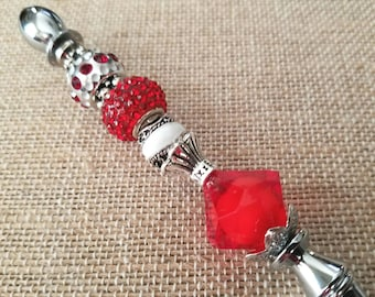 Red and Silver Beaded Silver Letter Opener
