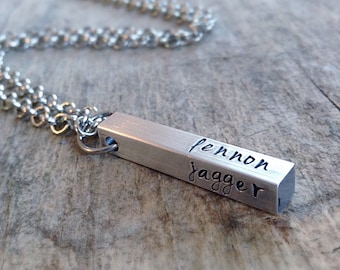Men's Aluminum Square Bar Necklace, Personalized Jewelry, Hand Stamped Bar Necklace, Name Necklace, Mens Jewelry, Gift for Him, Father's Day
