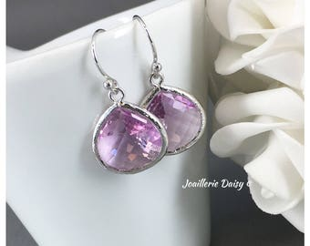 Violet Earrings Bridesmaid Earrings Purple Lavender Jewelry Mother of Groom Gift Mother of Bride Gift for Her Violet Wedding
