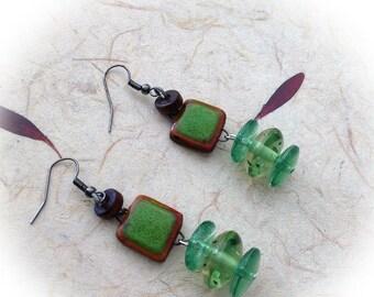 Earrings, ethnic, green.