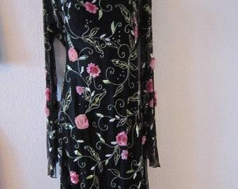 Vintage Black Floral Beaded Dress with Sheer Floral jacket