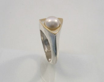 Triangle Pearl - gold and silver with white or dark pearl engagement ring.Original modern mixed metal and pearl.Cocktail and statement  ring