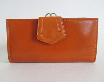 Tan Leather Wallet Kiss Clasp Check Book Holder Vintage