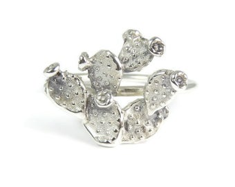 Cactus Ring, Prickly Pear ring, Cacti ring, sterling silver ring, Silver Cactus ring, silver stacking ring, Cacti love, southwest ring