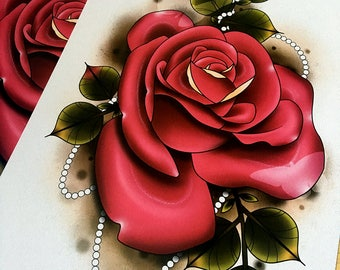 Rose Blush Tattoo Art Print