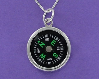 WORKING COMPASS Pendant Necklace - 925 Sterling Silver on Inspirational Card