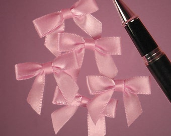 "25ct. Tiny Pink Satin Bow Ties 1"" x 1-3/8"" Craft Supply Gift Box Decoration (FREE SHIPPING!)"