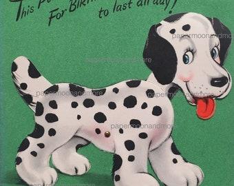 Vintage Birthday Card Dalmatian Mechanical Card Mid Century