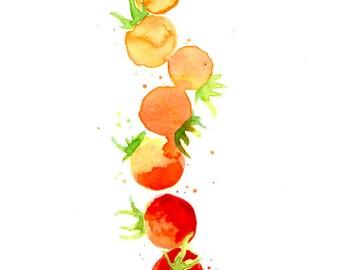 Tomato Ombre, original watercolor art, tomato art, kitchen decor, gift for gardener, gift for foodie