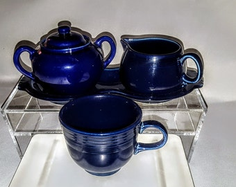 Fiestaware Pottery Promotional 1940-43 Figure 8 Ceramic Cobalt Blue Tray w/ Post Creamer & Sugar and Cup