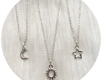 Dainty Silver Sun, Moon or Star necklace, Minimalist Jewelry