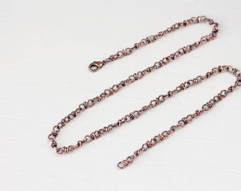 Handcrafted Copper Chain Necklace, oxidized copper necklace for man or woman, lobster clasp, artisan jewelry, chain for pendant