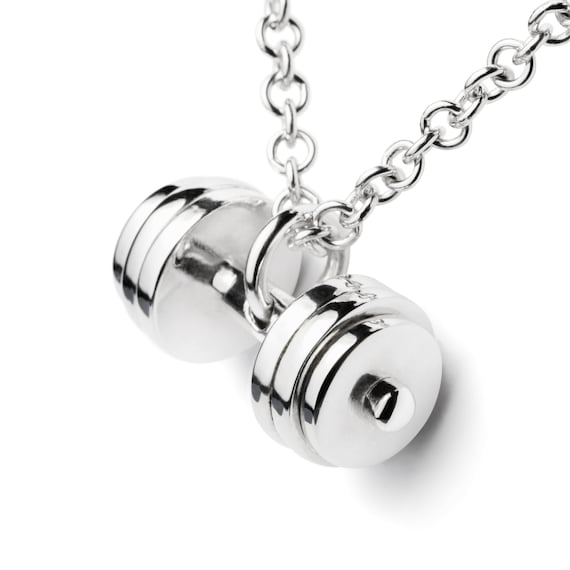 item antique product in details dumbbell mens strength silver of discs shields necklace