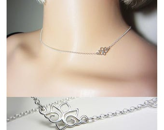 925 Sterling Silver Lotus Necklace Side Lotus Necklace Layering Necklace Delicate Necklace Yoga Necklace Spiritual Everyday Jewelry Gift