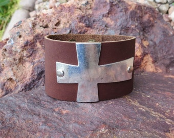 Leather Bracelet with Silver Cross