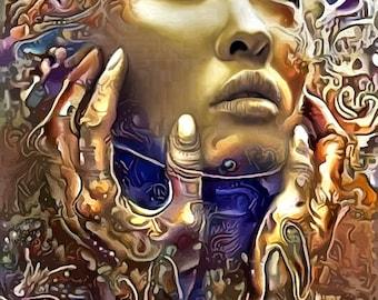 Self reflecting Sexy art goddess wall art print spiritual abstract