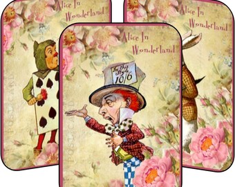 Alice in Wonderland Mad Hatter table tent cards set of 8 party favor party decoration