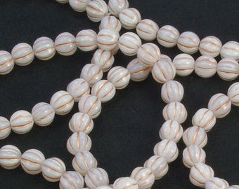 Melon Beads 8mm Czech Glass White Opaline with Copper Wash - 30