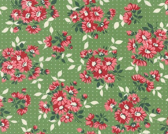 """Bread 'n Butter - Dotted Daisy in Green by American Jane for Moda Fabrics - 33"""" Remnant"""