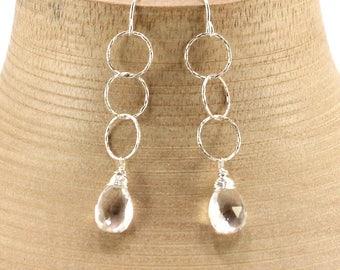 Quartz Earrings, Sterling Silver Earrings, Simple Earrings, Everyday Earrings, Quartz Jewelry, Chain Earrings, Long Earrings