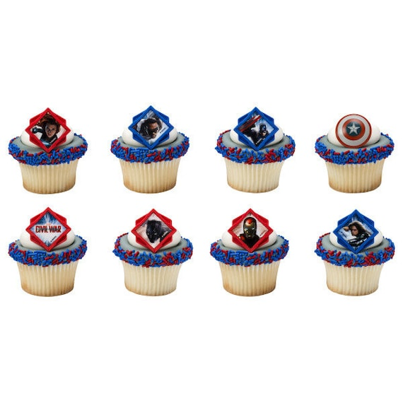 Captain America Civil War Divided Cupcake Rings 24 Count