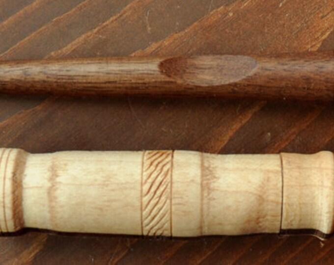 Beautiful walnut wood stitch lay tool plus mixed wood needle case set