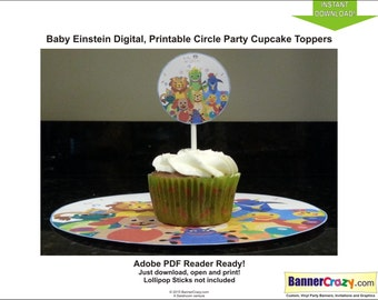 Baby Einstein Birthday Party Cupcake Toppers Labels Tags INSTANT DOWNLOAD PDF Birthday Party Ideas Printable Baby Einstein