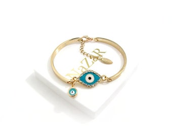 Adorable Evil Eye Bracelet, Evil Eye Jewelry, Bangle, Charm Bracelets, Friendship Bracelets, Best Friend Bracelets, Best Friend Gifts, Gift