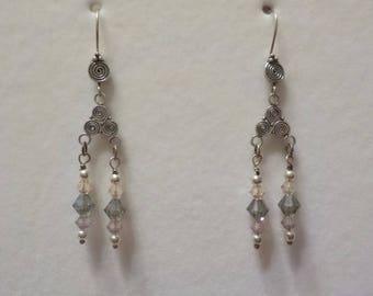 Smoke Gray and Pale Pink Swarovski Crystal Chandelier Earrings