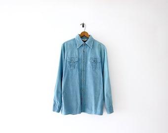 50% of Proceeds go to Planned Parenthood! Vintage Levis Big E Corduroy Shirt, 70s Levi's Shirt, Faded Blue Corduroy Shirt, Mens Shirt Large