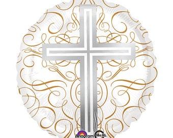 "Silver & Gold CROSS 17"" Mylar BALLOON Baptism Christening Communion party decorations supplies centerpiece"