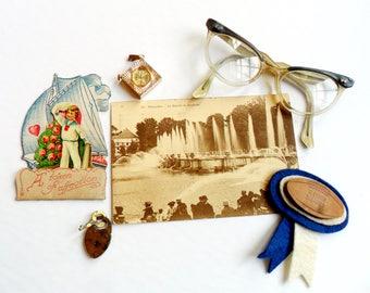 Vintage Trinkets Ephemera Pack Mixed Media Shadow Box Inspiration Notions Watch Lock Glasses Valentine Postcard Football School Girl Teen