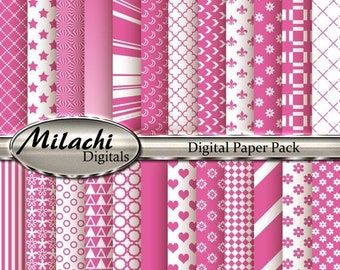 60% OFF SALE Pink Cupcake Digital Paper Pack, Scrapbook Papers, Commercial Use - Instant Download - M97