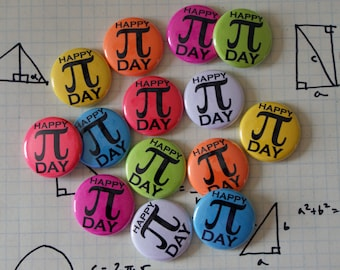 "Party Pack: 100 Pi Day Colorful Nerdy Geeky Math 1"" Pinback Button"