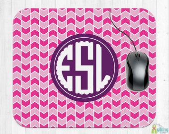 Monogrammed Mouse Pad, Computer Mouse Pad, Square Mouse Pad, Monogram Office Accessory, School Supplies, Which Way Design